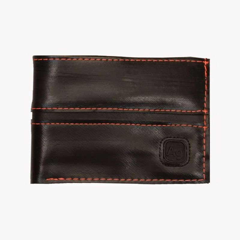 Recycled Franklin Wallet - Black/Floro Orange
