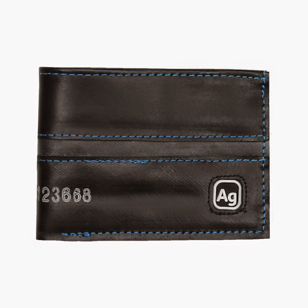 Recycled Franklin Wallet - Black/Marine