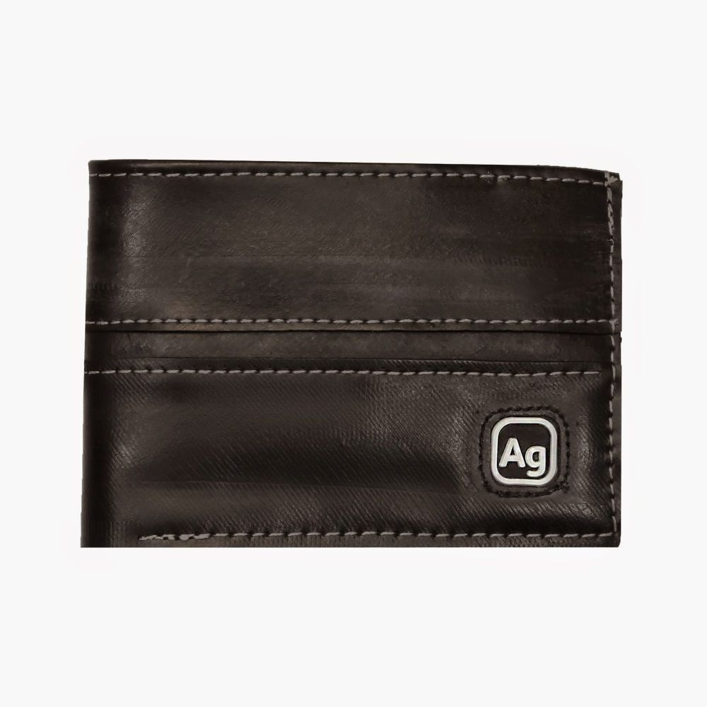 Recycled Franklin Wallet - Black/Silver