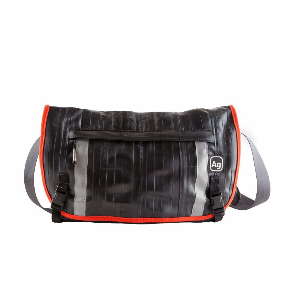 Recycled Pike Messenger Bag - Black/Mandarine