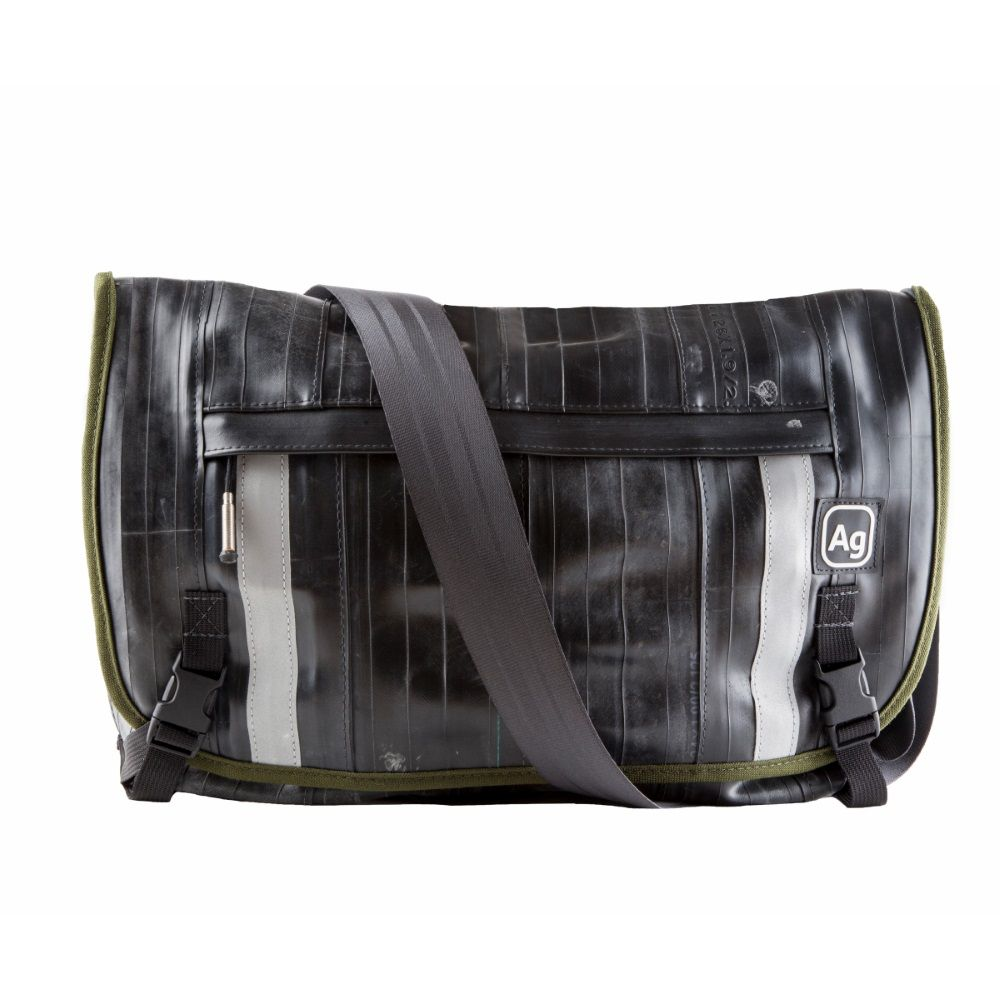 Recycled Pike Messenger Bag - Black/Moss