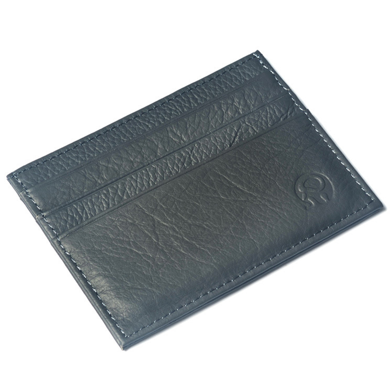 WALLET Small leather credit card wallet - Grey