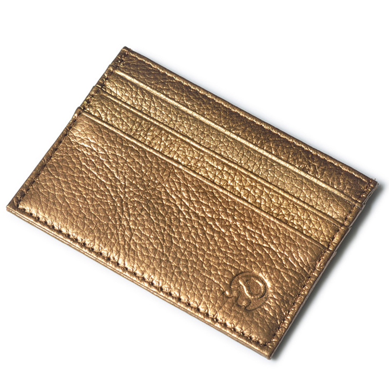 Small leather credit card wallet - Gold