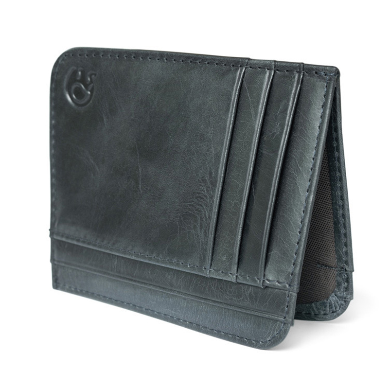WALLET Minimalist leather wallet with 11 pockets - Black