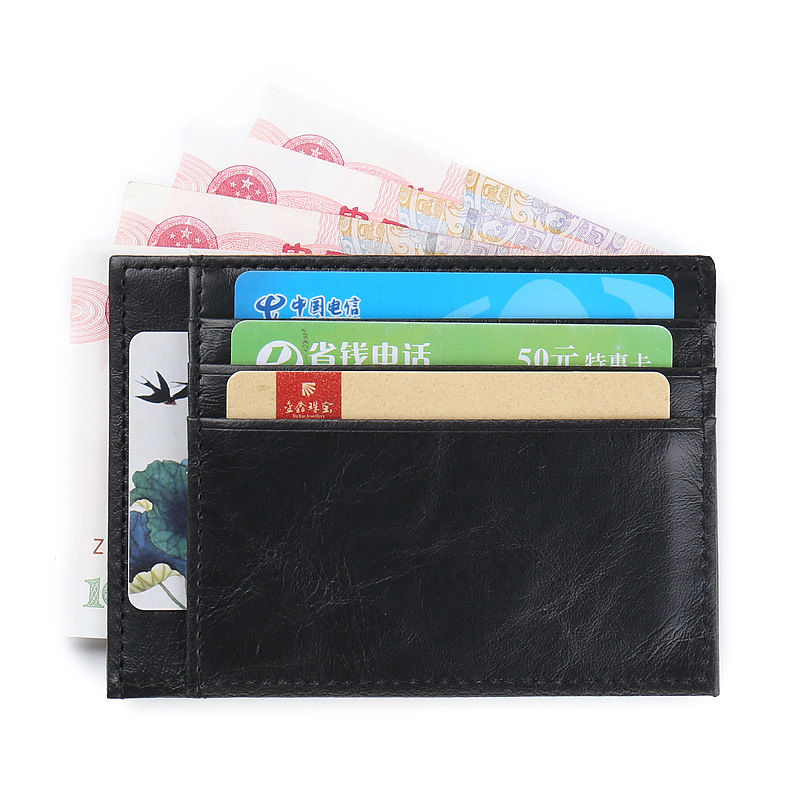 WALLET Minimalist synthetic leather wallet with 9 pockets - Black
