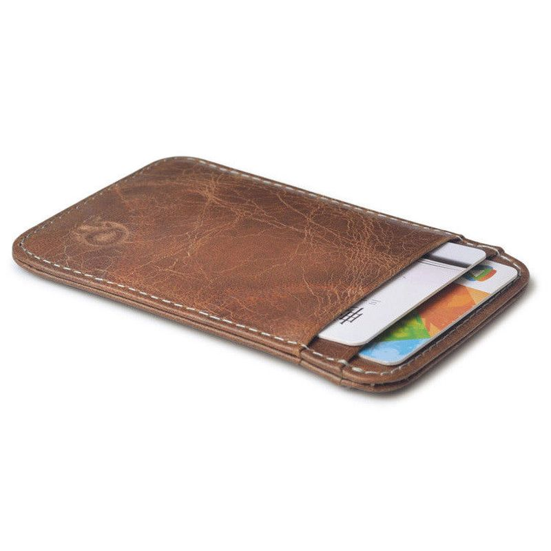 WALLET Slim leather credit card wallet - Dark Brown