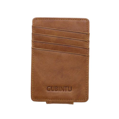 WALLET Leather Money Clip Wallet - Brown