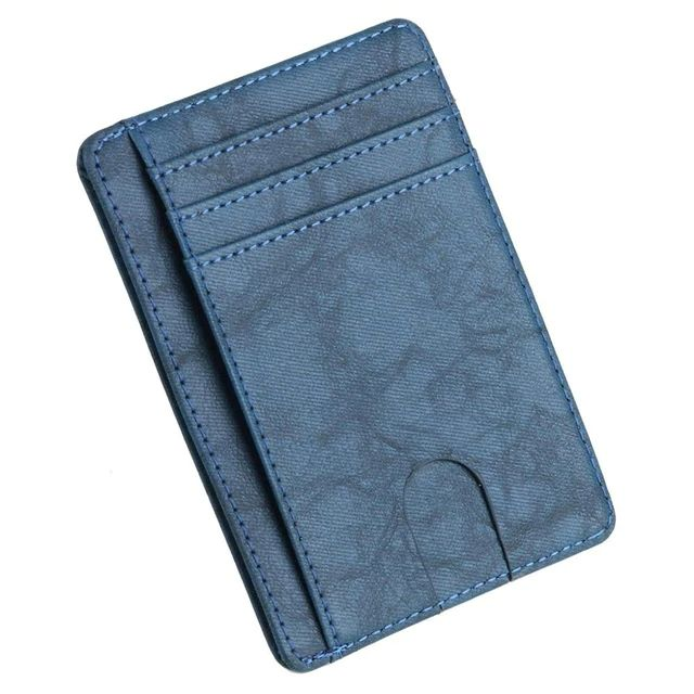 Slim PU Leather Wallet With RFID - Blue