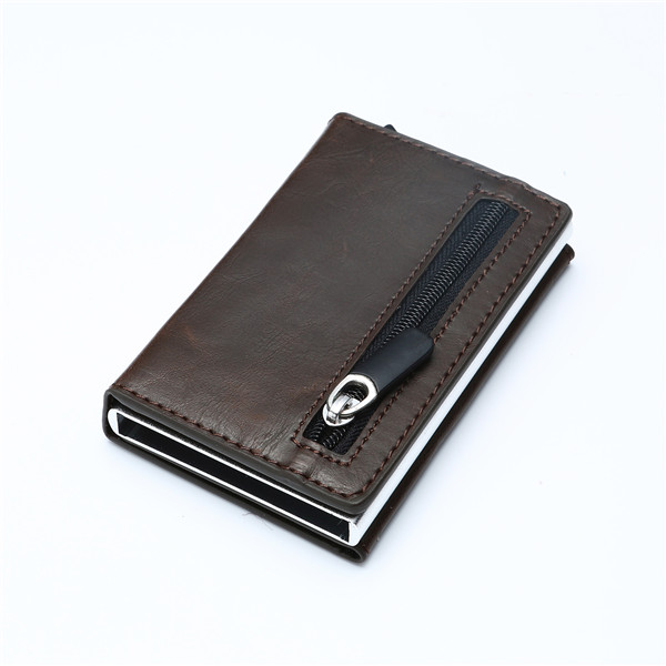 WALLET Aluminum Wallet With PU Leather And Zipper - Dark Brown
