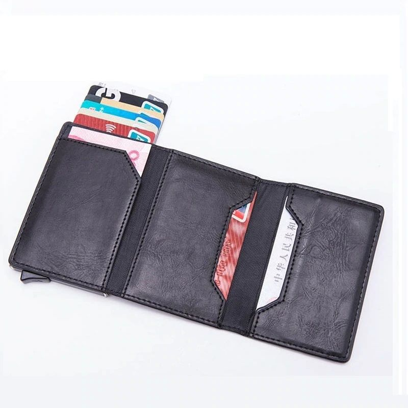 WALLET Aluminum Wallet With PU Leather And Zipper - Black