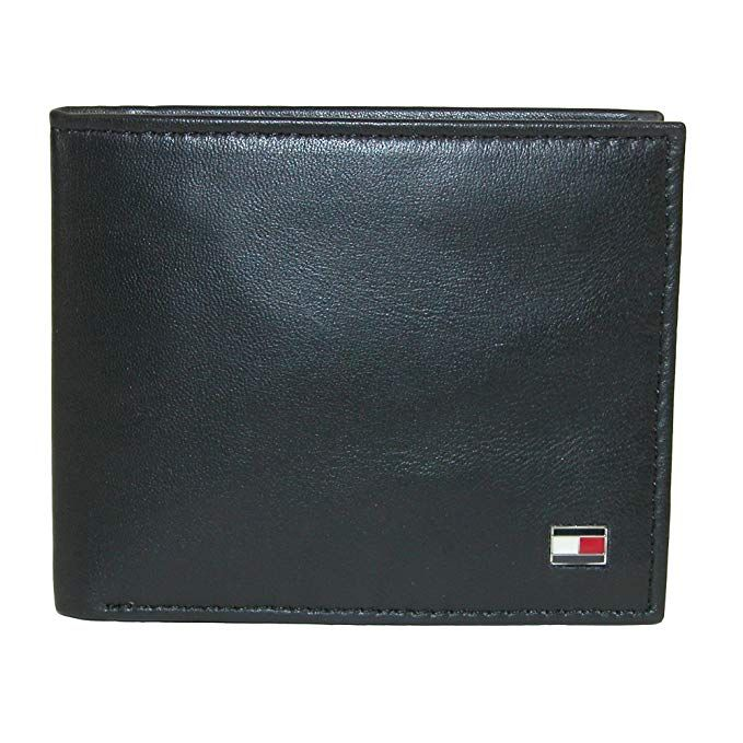WALLET Tommy Hilfiger Mens Leather Slim Billfold Wallet - Black