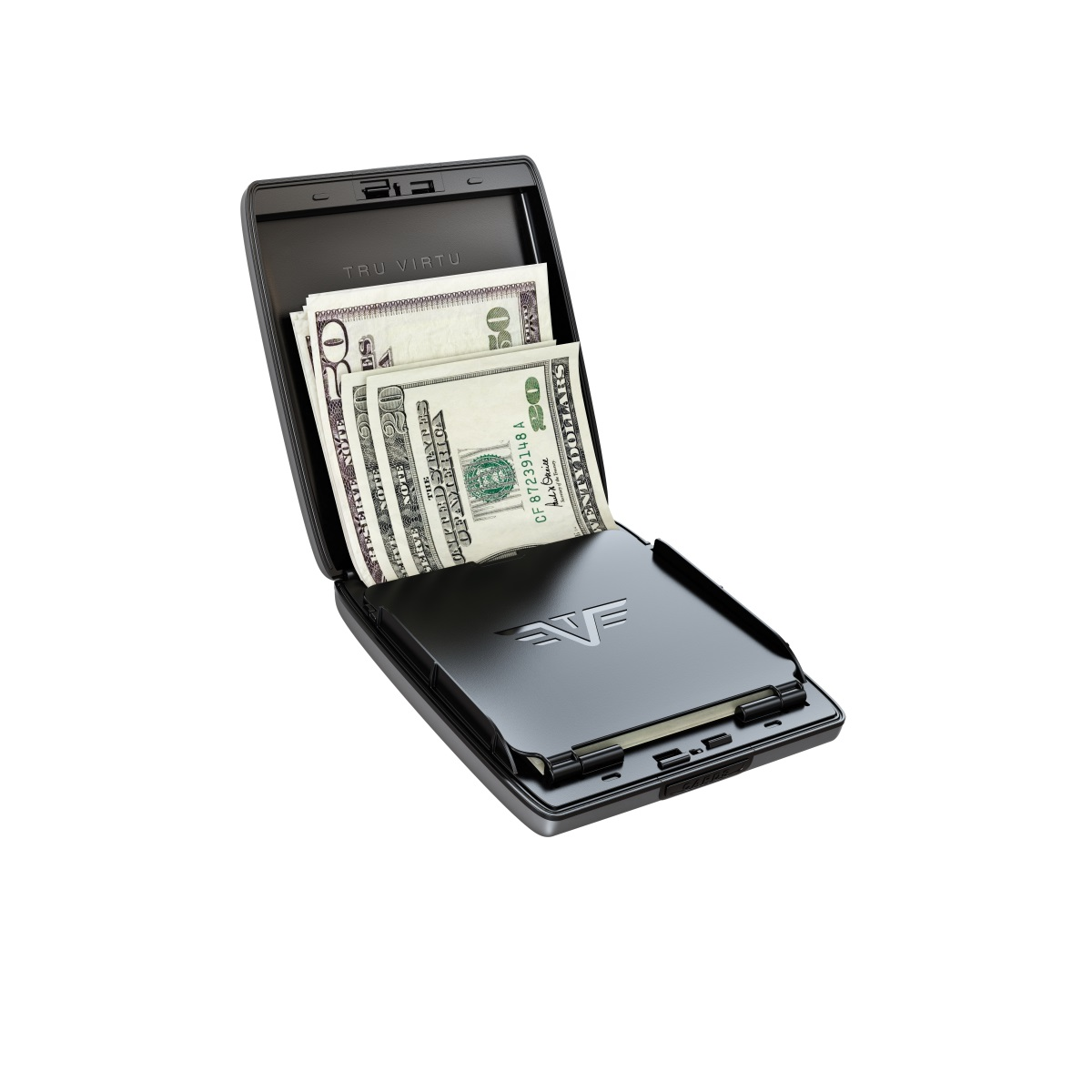 TRU VIRTU Aluminum Wallet Beluga - Money & Cards - Black