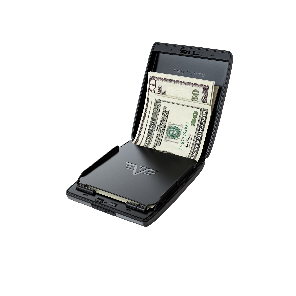 TRU VIRTU Aluminum Wallet Beluga - Money & Cards - Leather Line - Black