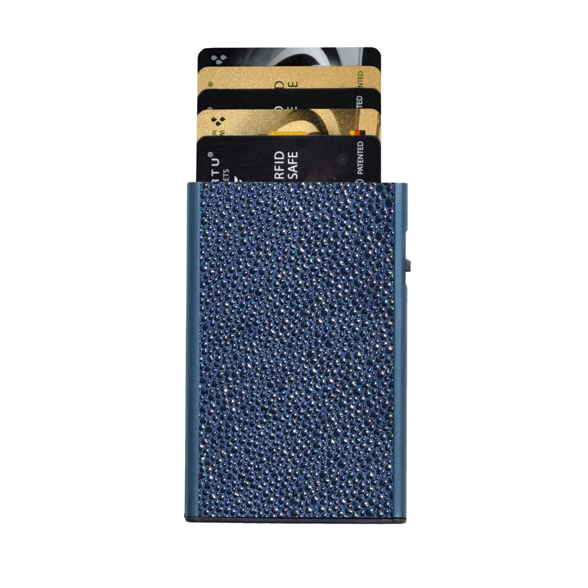 TRU VIRTU Card Case Click n Slide Wallet - Sting Ray Blue