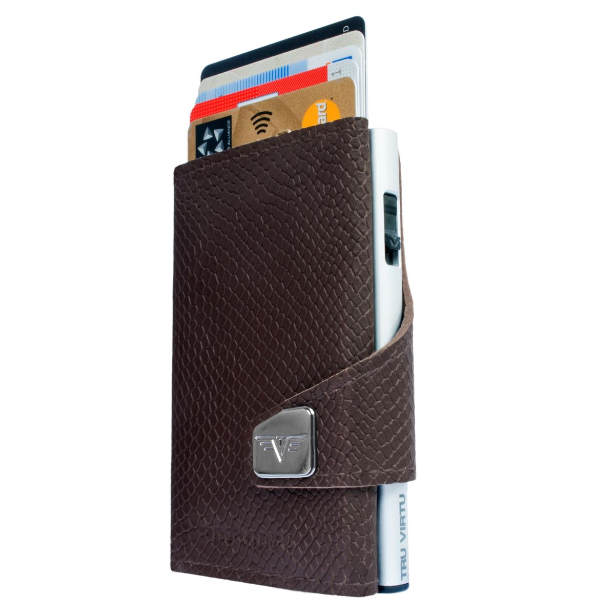 TRU VIRTU Click n Slide Wallet - Cobra Dark Brown