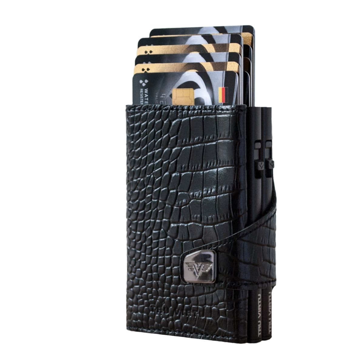 TRU VIRTU Click n Slide Double Wallet - Croco Black