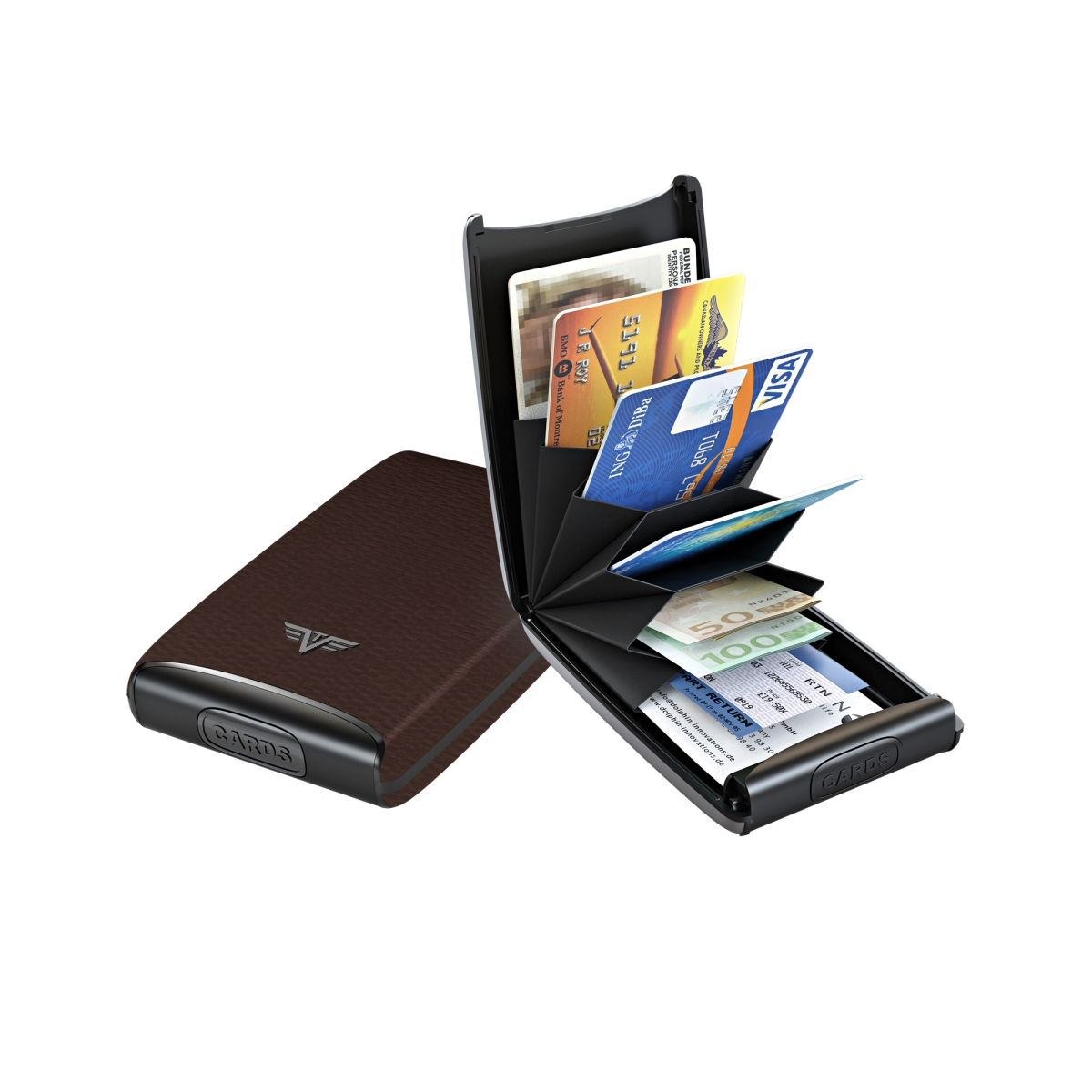 TRU VIRTU Aluminum Card Case Fun Leather Line - Dark Tabacco