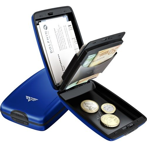 TRU VIRTU Aluminum Wallet Oyster Cash & Cards - Blue