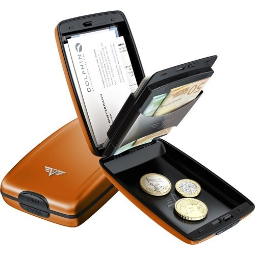 TRU VIRTU Aluminum Wallet Osyter Cash & Cards - Orange