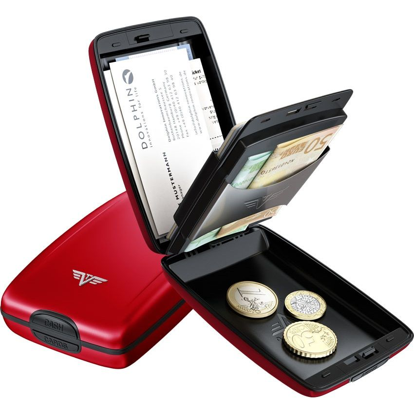 TRU VIRTU Aluminum Wallet Oyater Cash & Cards - Red