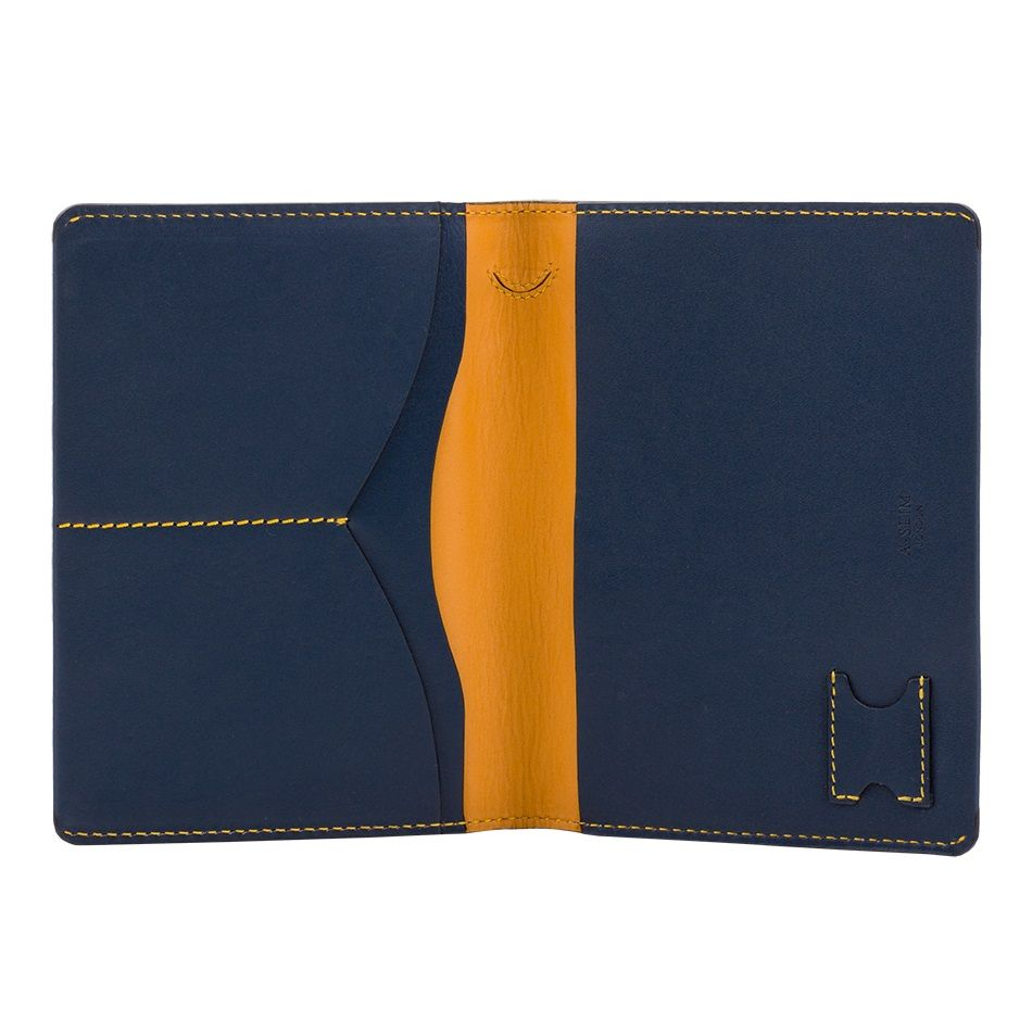 A-SLIM Leather Passport Holder Hoshi - Blue/Yellow