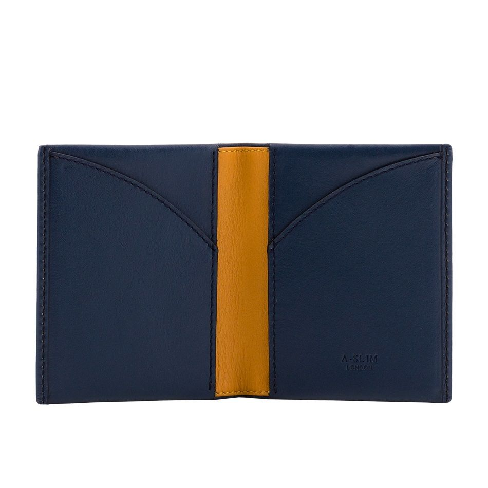 Leather Wallet Origami - Blue/Yellow