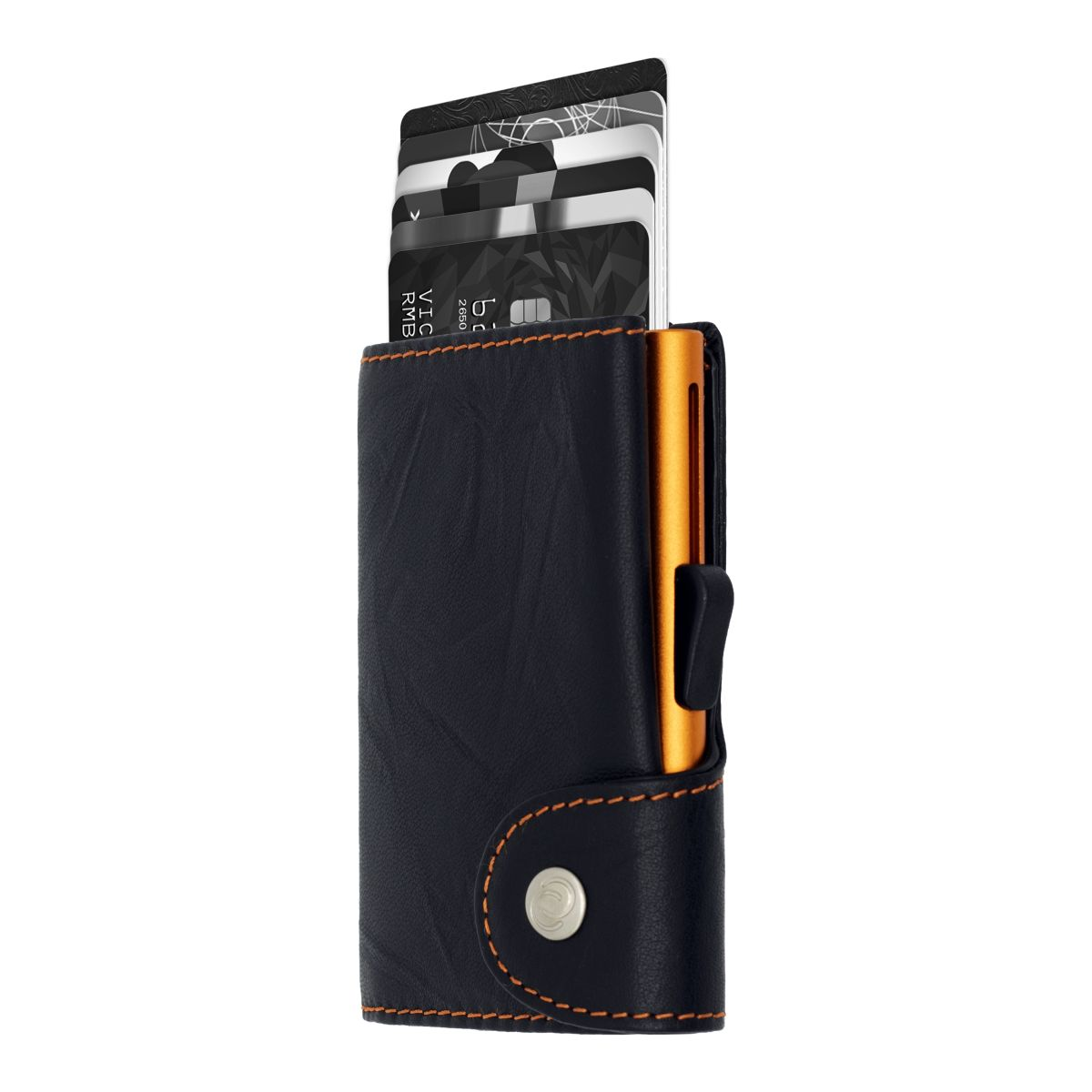 Aluminum Card Holder with Genuine Leather - Black / Orange