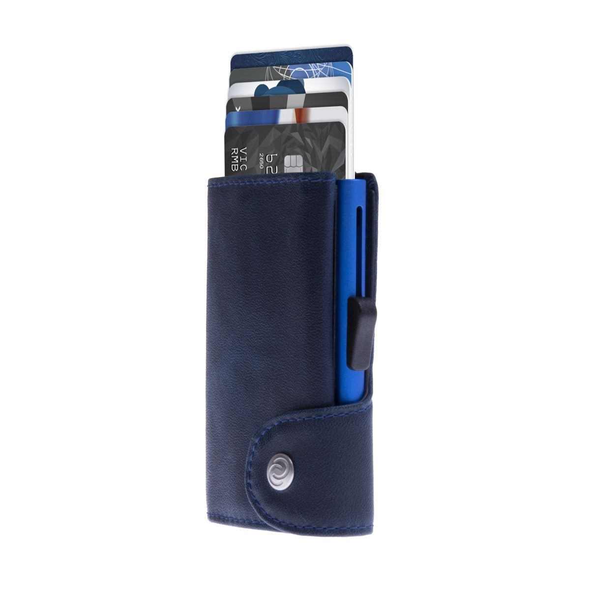 C-Secure Aluminum Card Holder with Genuine Leather - Navy Blue