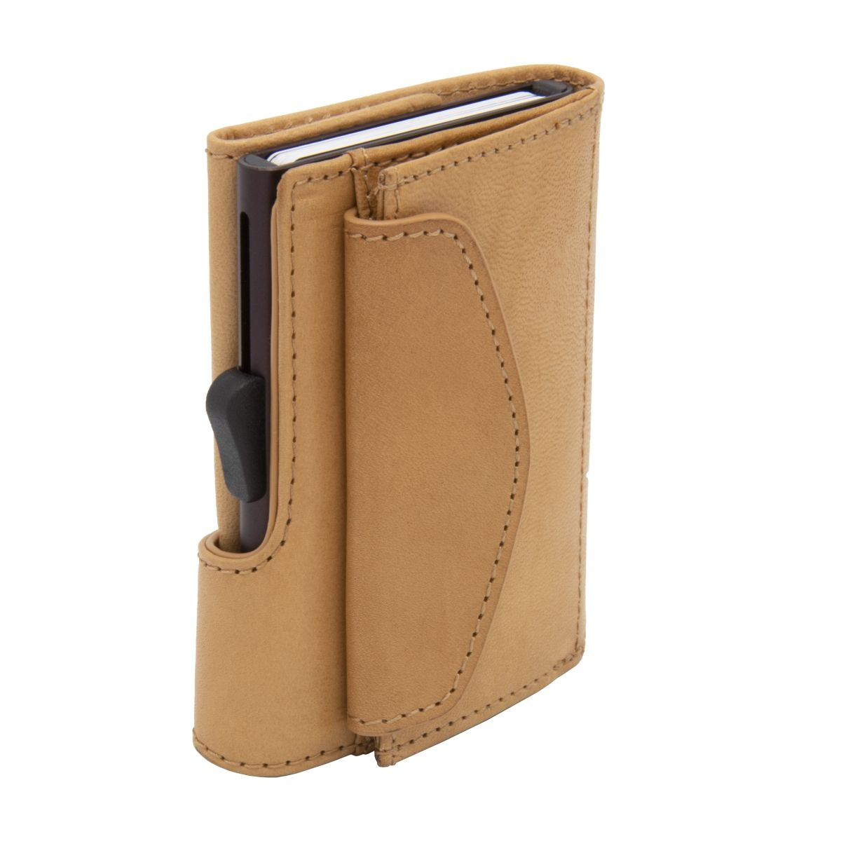 C-Secure Aluminum Card Holder with Genuine Leather and Coin Pouch - Saddle