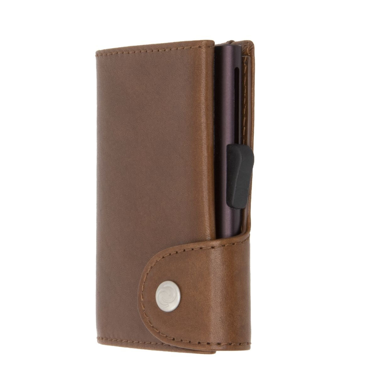 C-Secure Aluminum Card Holder with Genuine Leather - Brown