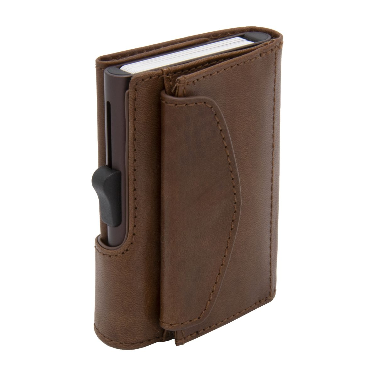 C-Secure XL Aluminum Wallet with Vegetable Genuine Leather and Coins Pocket - Brown