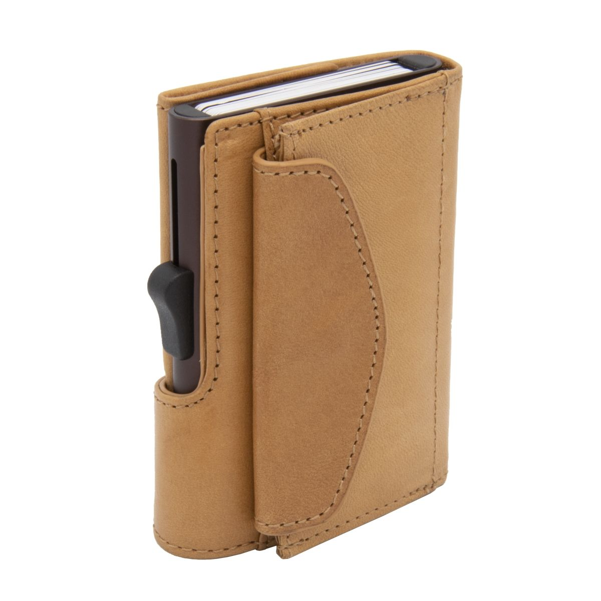 C-Secure XL Aluminum Wallet with Vegetable Genuine Leather and Coins Pocket - Saddle