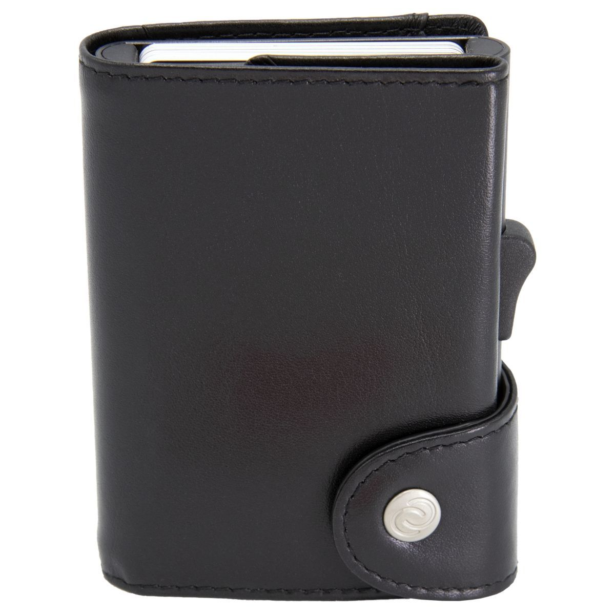 C-Secure XL Aluminum Card Holder with Genuine Leather - Black