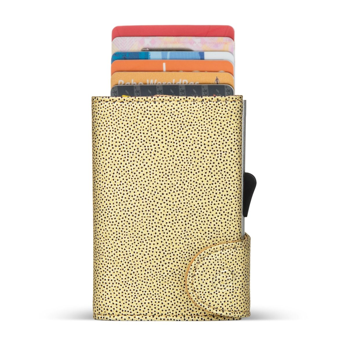C-Secure Aluminum Card Holder with Genuine Leather - Fashion Gold