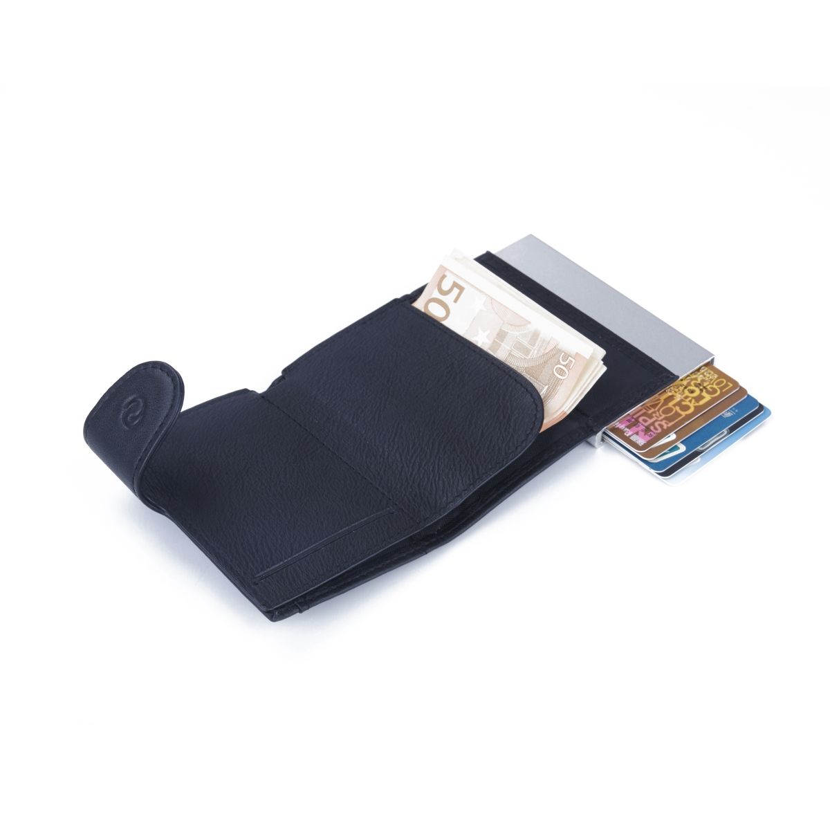 C-Secure Aluminum Card Holder with PU Leather with Coin Pouch - Black