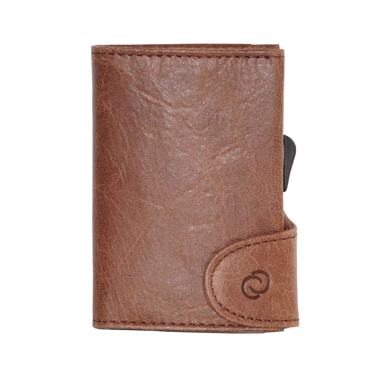 C-Secure Aluminum Card Holder with PU Leather - Brown
