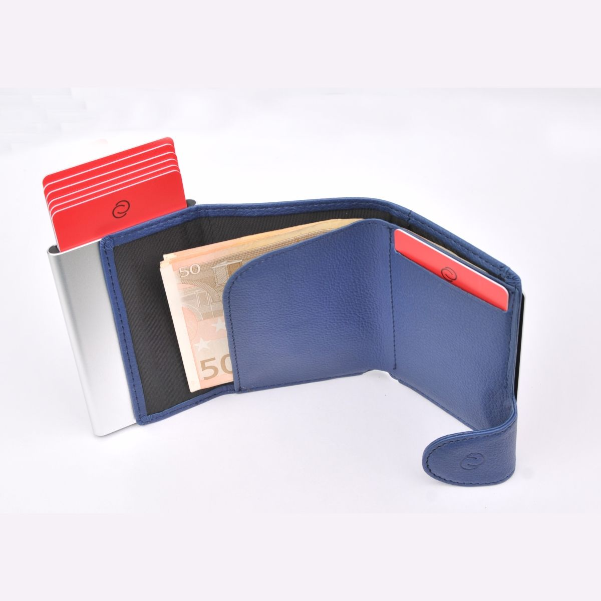 C-Secure Aluminum Card Holder with Genuine Leather and Coin Pouch - Blue Marino