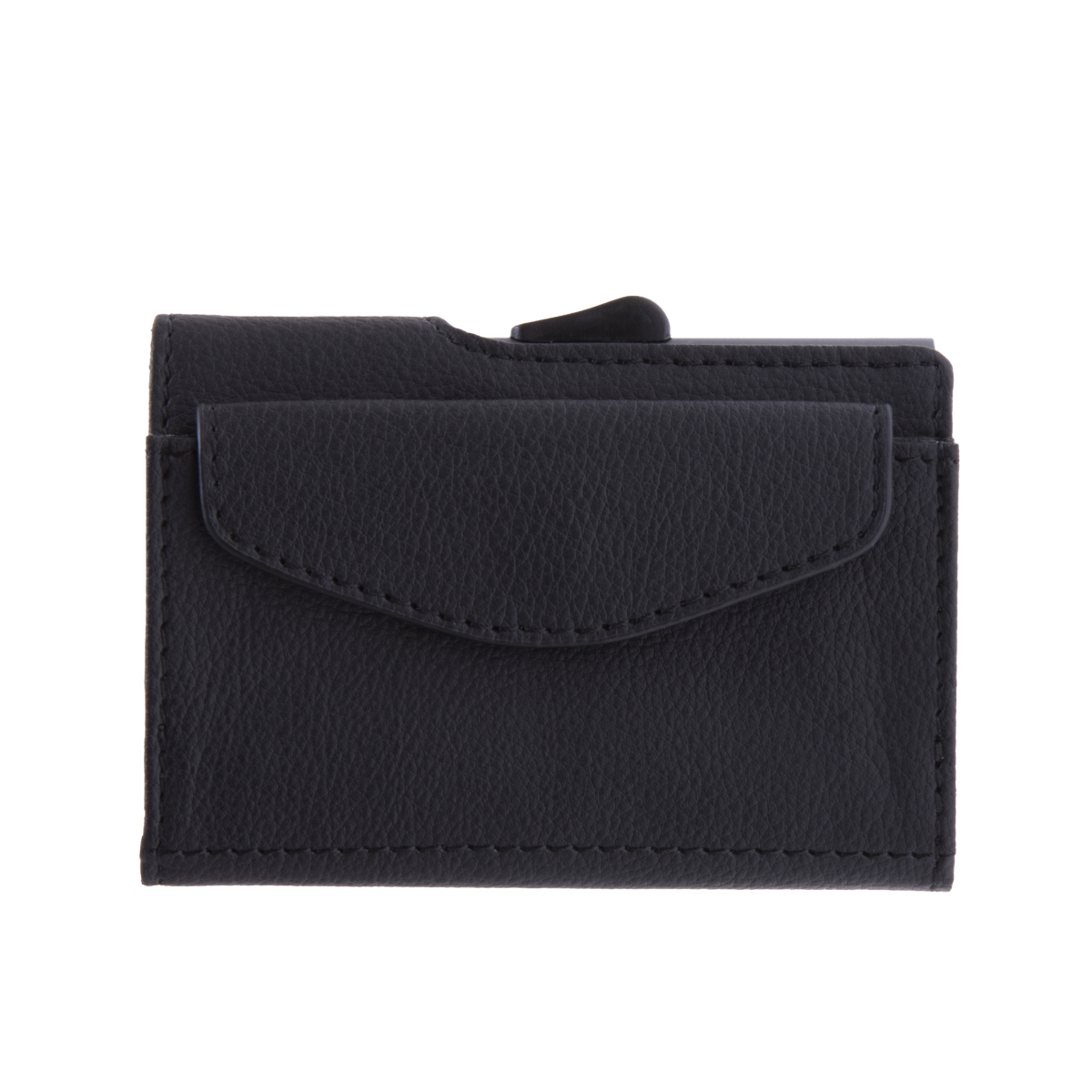 C-Secure Aluminum Card Holder with Genuine Leather and Coin Pouch - Black