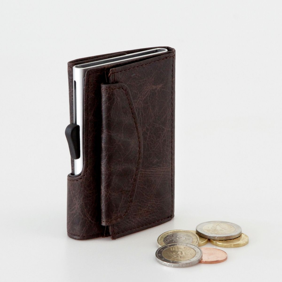 C-Secure Aluminum Card Holder with PU Leather with Coin Pouch - Dark Brown
