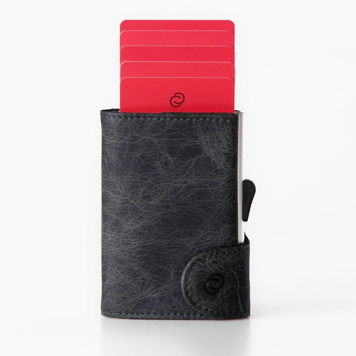 Aluminum Card Holder with Genuine Leather and Coin Pouch - Blackwood