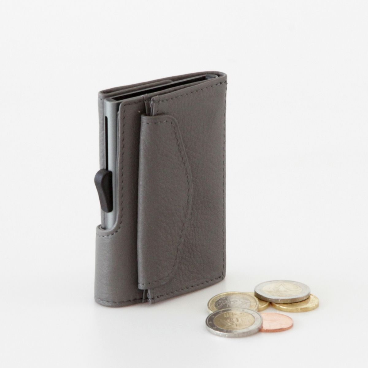 C-Secure Aluminum Card Holder with PU Leather with Coin Pouch - Grey