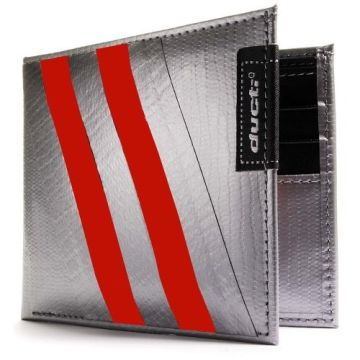 Duct Tape Bi-Fold Wallet - Silver/Red