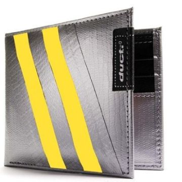 Duct Tape Bi-Fold Wallet - Silver/Yellow