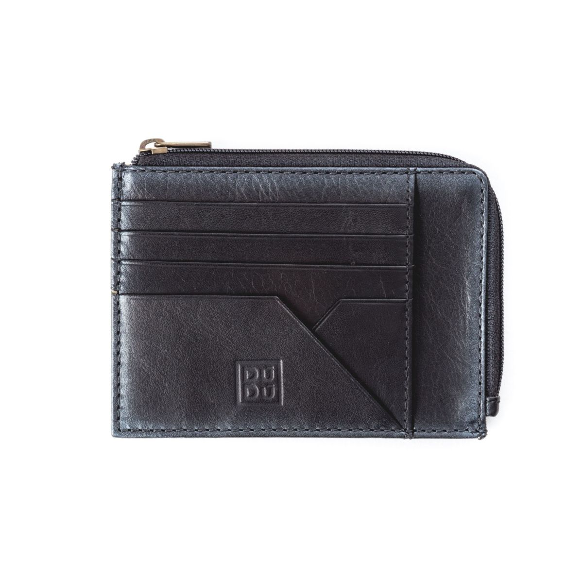 DuDu Flat Leather Wallet - Black