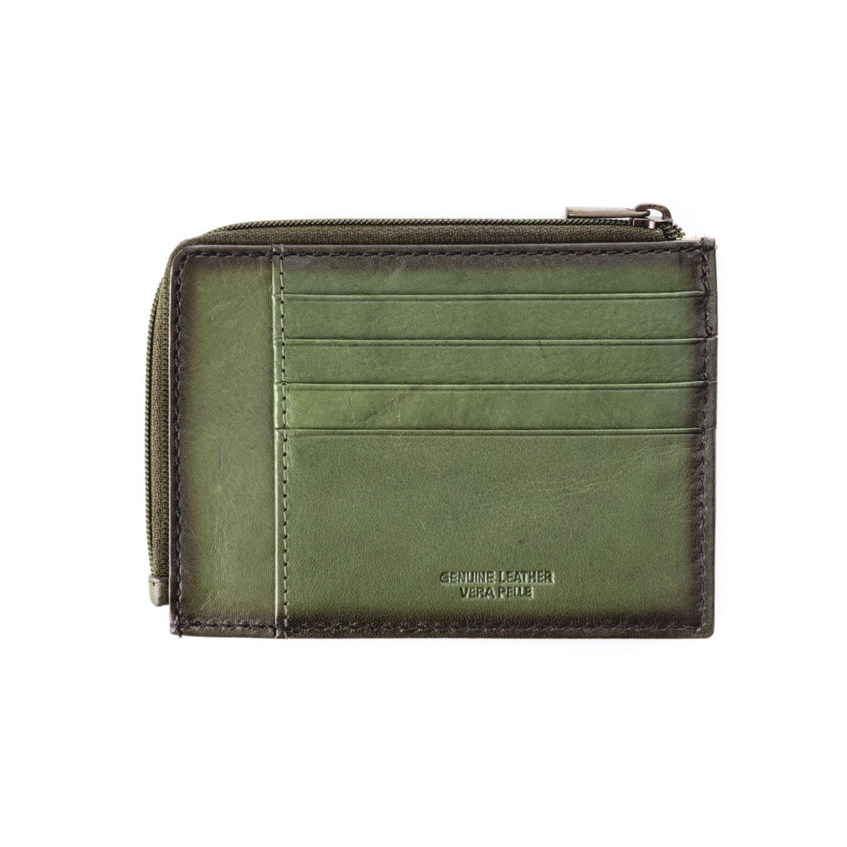 Flat Leather Wallet - Green