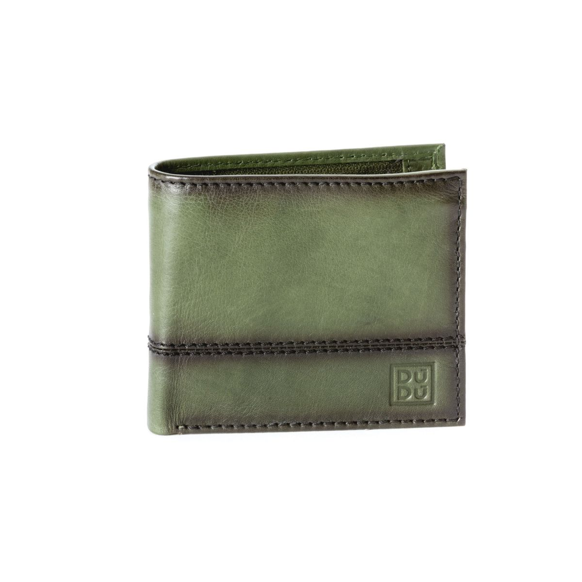 Unique Leather Wallet With Coin Purse - Green
