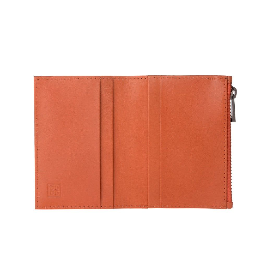 DuDu Zip-It Minimalist Leather Wallet - Orange