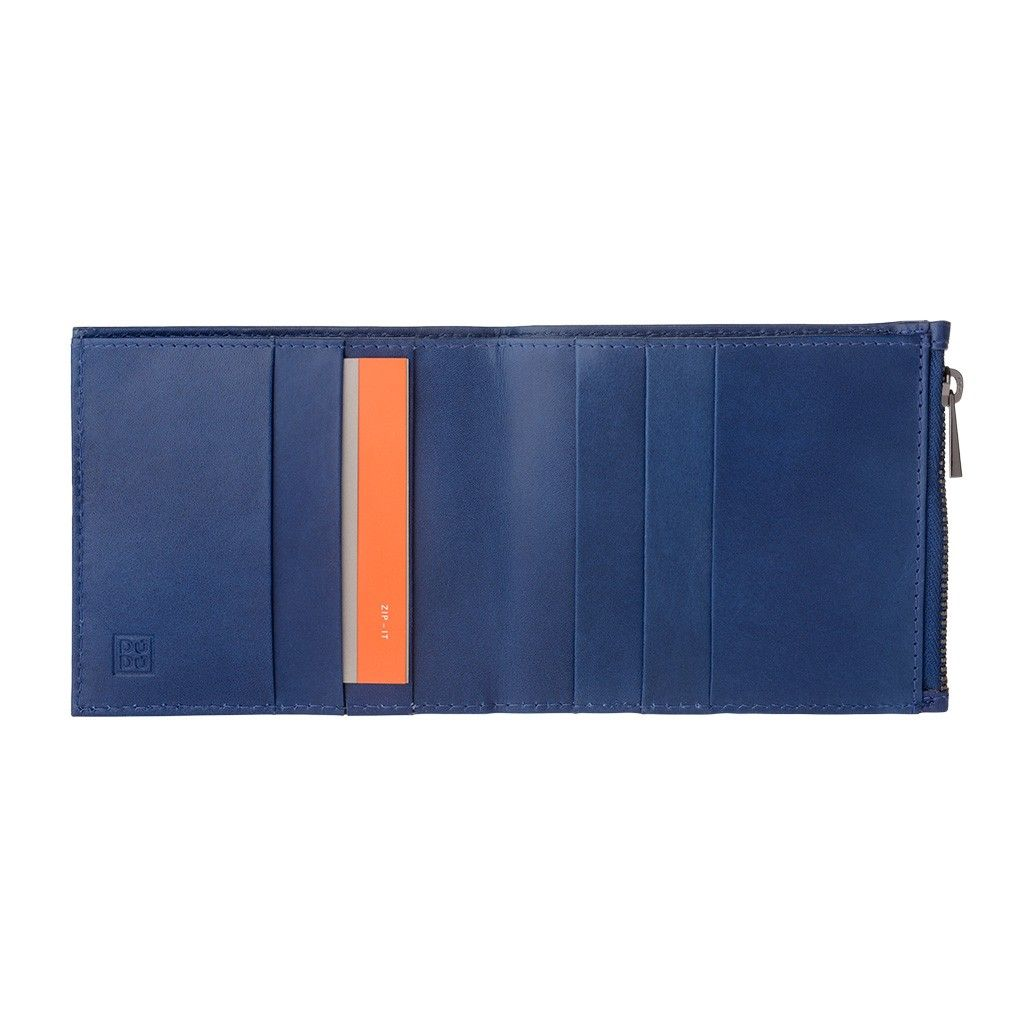 DuDu Zip-It Bi-Fold Leather Wallet - Blue