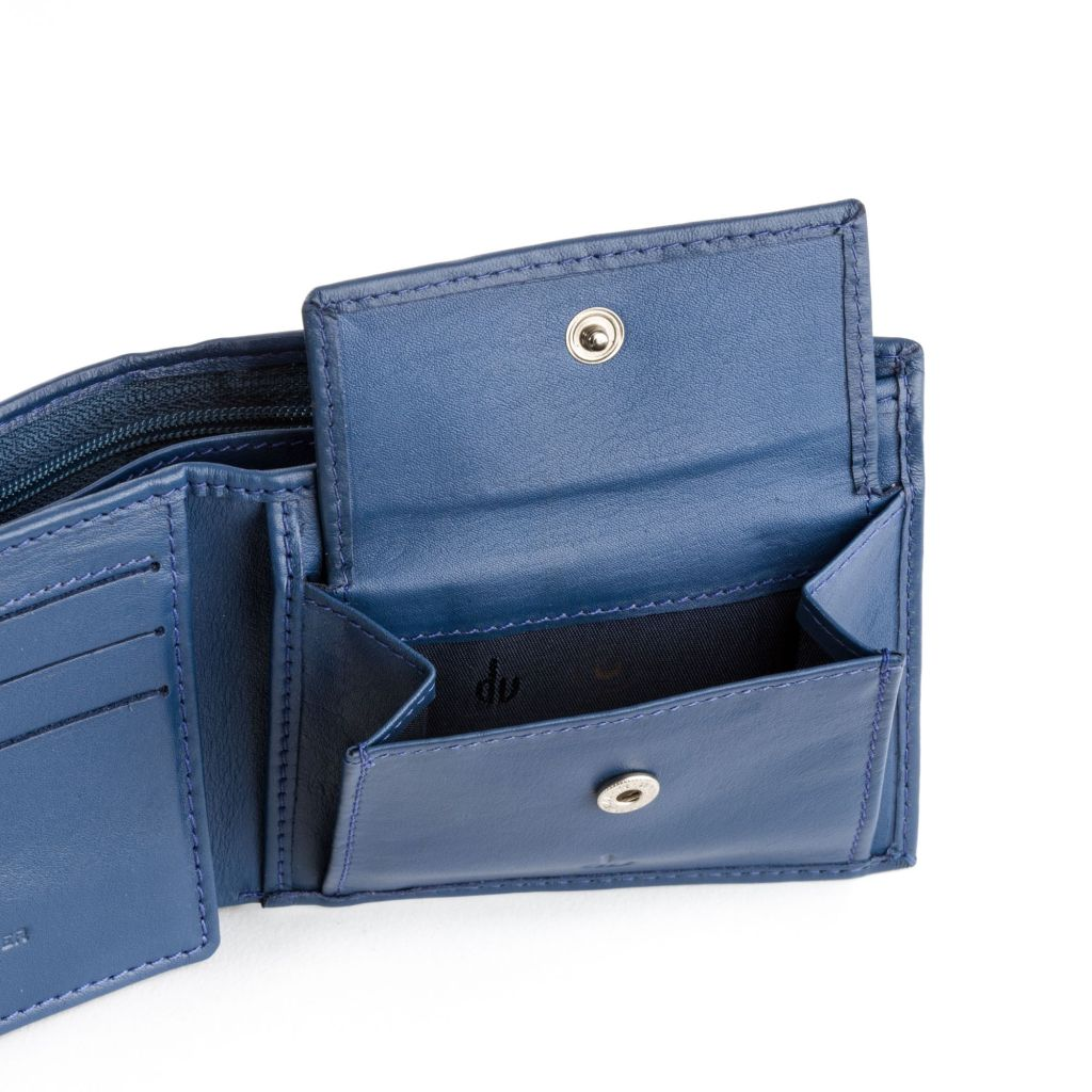 dv Leather wallet with coin purse and inside secret zip compartment - Blue