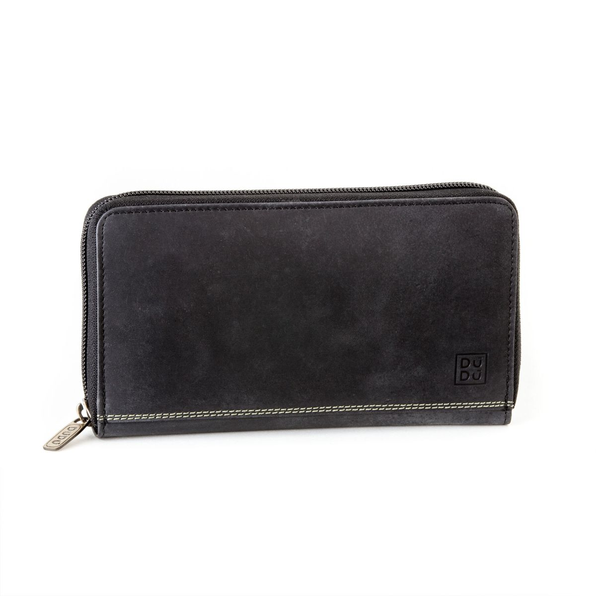 DuDu Ladies Leather Zip Vintage Wallet - Black